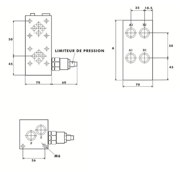 bloc for cetop3 ng6 avec limiteur de pression int gr. Black Bedroom Furniture Sets. Home Design Ideas